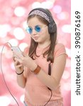 a preteen girl listening to... | Shutterstock . vector #390876169