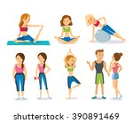people work out in fitness club ... | Shutterstock .eps vector #390891469