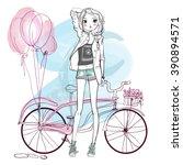 cute summer girl | Shutterstock .eps vector #390894571