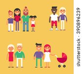 set of family concept flat... | Shutterstock .eps vector #390896239