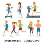 people jogging and working out... | Shutterstock .eps vector #390899299