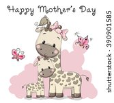 mother's day card with two cute ... | Shutterstock .eps vector #390901585