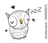 Hand Drawn Sleeping Owl On A...