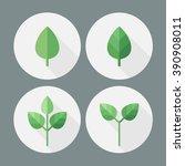 green leaf. eco. bio. flat... | Shutterstock .eps vector #390908011