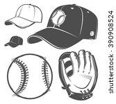 set of baseball cap ball bat... | Shutterstock .eps vector #390908524