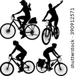 cycling silhouettes | Shutterstock .eps vector #390912571