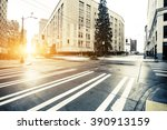 traffic on city road through... | Shutterstock . vector #390913159