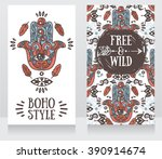 two colorful cards with hamsa... | Shutterstock .eps vector #390914674