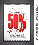 clearance sale flyer  banner or ... | Shutterstock .eps vector #390915034
