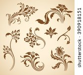 set of floral decorative... | Shutterstock . vector #390918151