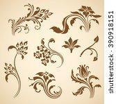 set of floral decorative... | Shutterstock . vector #390918151
