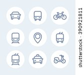 city and public transport icons ... | Shutterstock .eps vector #390921811