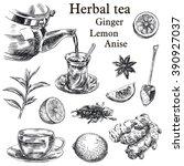 natural tea  lemon  ginger and... | Shutterstock .eps vector #390927037