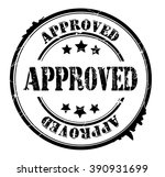 approved stamp on a white ... | Shutterstock .eps vector #390931699