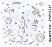 hand drawn set of astronomy... | Shutterstock .eps vector #390935869