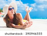 woman in bikini and sun hat... | Shutterstock . vector #390946555