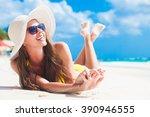 Woman In Bikini And Sun Hat...