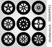 monochrome car wheels collection | Shutterstock .eps vector #390949921