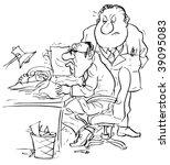 boss and apprehensive clerk | Shutterstock . vector #39095083