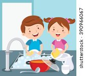 kids washing dishes. siblings ... | Shutterstock .eps vector #390966067