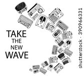 radio card design  radio doodle ... | Shutterstock .eps vector #390966331
