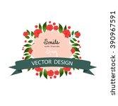 wreath with  flowers.vector ... | Shutterstock .eps vector #390967591