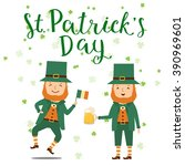 leprechaun with lettering saint ... | Shutterstock .eps vector #390969601