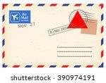 postcard template vector  | Shutterstock .eps vector #390974191
