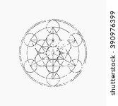 cube of metatron  geometric... | Shutterstock .eps vector #390976399