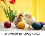 Colored Easter Eggs With Little ...
