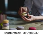 close up of female pastry chef... | Shutterstock . vector #390981037