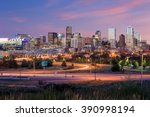 panorama of denver skyline long ... | Shutterstock . vector #390998194