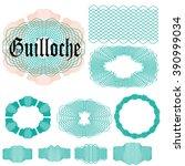 set of guilloche elements.... | Shutterstock .eps vector #390999034