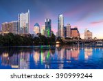 beautiful austin skyline... | Shutterstock . vector #390999244