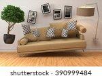 zero gravity sofa hovering in... | Shutterstock . vector #390999484
