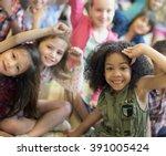 child companionship diversity... | Shutterstock . vector #391005424