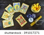 still life with the tarot cards ... | Shutterstock . vector #391017271