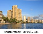 waikiki beach with hotels ... | Shutterstock . vector #391017631