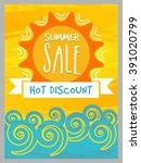 summer sale banner  sale poster ... | Shutterstock .eps vector #391020799