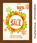 autumn sale banner  sale poster ... | Shutterstock .eps vector #391020844
