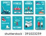 sport information cards set.... | Shutterstock .eps vector #391023259