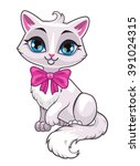 Cute Cartoon Little White Cat...