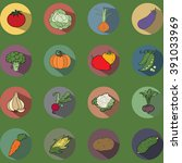 vegetables icons flat set.... | Shutterstock .eps vector #391033969
