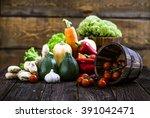 fresh organic vegetables. food... | Shutterstock . vector #391042471