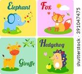 cute zoo alphabet. e  f  g h...   Shutterstock . vector #391047475