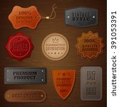 set of leather labels for... | Shutterstock .eps vector #391053391
