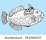 sea creatures. line art.... | Shutterstock .eps vector #391060237