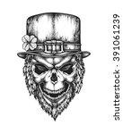 hand drawn leprechaun skull... | Shutterstock .eps vector #391061239