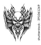 hand drawn winged skull with...