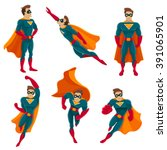 superhero actions icon set in... | Shutterstock .eps vector #391065901